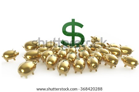 golden glossy piggybank pigs crowding around green dollar sign. metaphor of financial savings in crisis. high quality 3d render