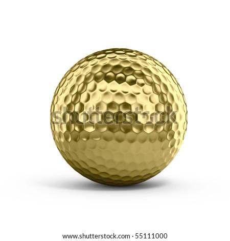 Golden golf ball - stock photo