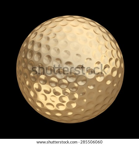 golden golf ball isolated on black background. High resolution 3d - stock photo