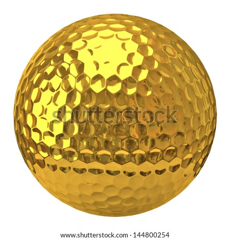 Golden golf ball isolated on white background - stock photo