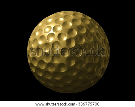 Golden golf ball on black background - stock photo