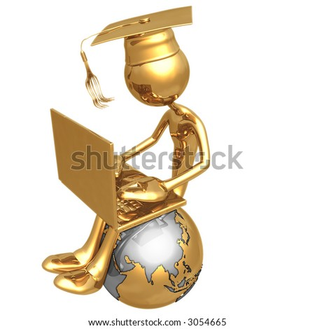 Golden Grad On Top Of The World With Laptop Online Education Graduation Concept - stock photo