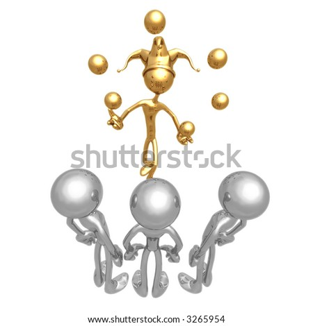 Golden Guy Juggling for Silver Audience (3D Render) - stock photo