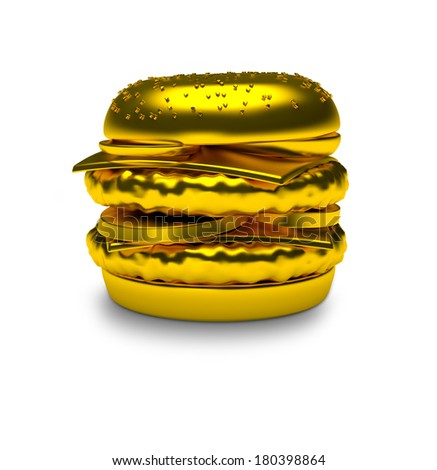 Golden Hamburger or Cheeseburger 3D Render isolated on white - stock photo