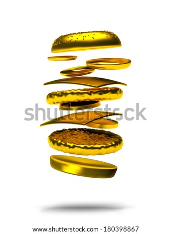 Golden Hamburger or Cheeseburger 3D Render isolated on white
