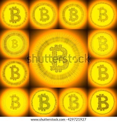 Golden hand-drawn Bitcoin logo. Collage of a digital decentralized crypto currency symbols.