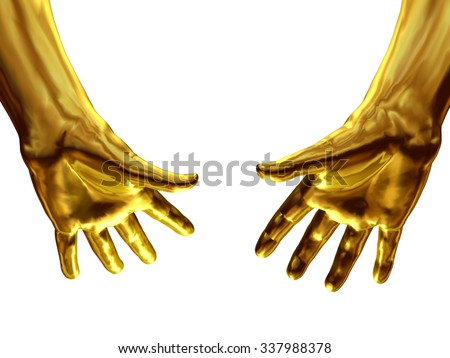 golden Hand gesture, grabbing from top