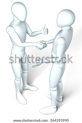Golden handshake - Two figures shaking hands on white background - stock photo