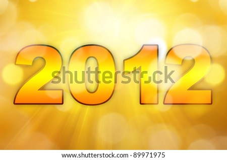 golden happy new year 2012 with stars background