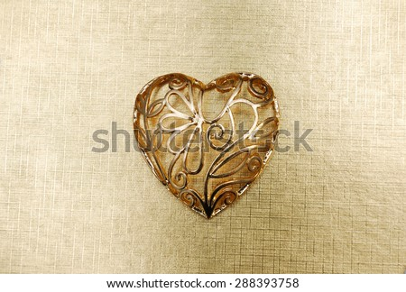 Golden heart - stock photo
