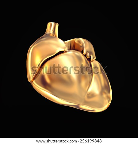 Golden heart  on black   background. High resolution. 3D render