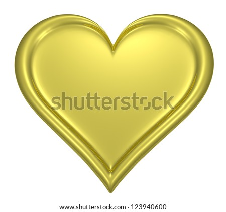 Golden heart pendant isolated on white background - stock photo