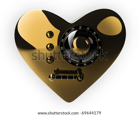 Golden heart safe isolated on white background. 3D render