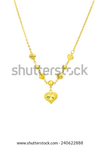 Golden heart with necklace chain  isolated on white background
