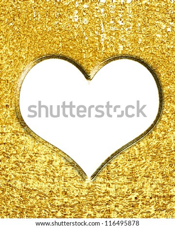 Golden heart with smooth lines and some faint reflections - stock photo