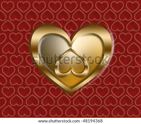 golden hearts on a patterned red background