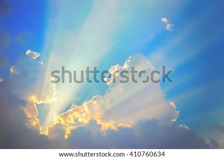 Golden heaven light Hope concept abstract blurred background from nature - stock photo