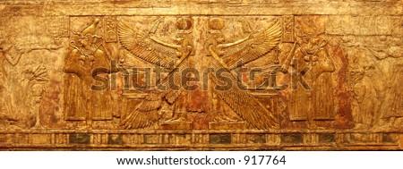 Golden hieroglyphs - stock photo