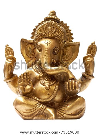 Golden Hindu God Ganesh over a white background - stock photo