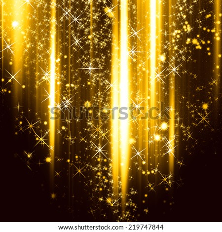 Golden holiday background with shiny particles and lights - stock photo