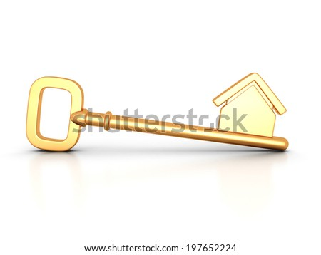 Golden home key with house silhouette. real estate concept 3d render illustration - stock photo