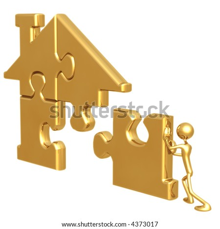 Golden Home Puzzle - stock photo