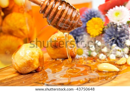 golden honey and fruits