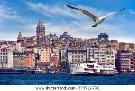 Golden Horn against Galata tower, Istanbul, Turkey - stock photo