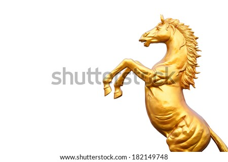 Golden Horse Statue Isolate - stock photo