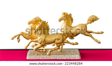 Golden Horse Statue on white background. - stock photo