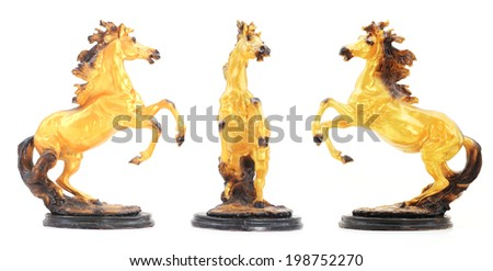 Golden Horse Statue set Isolate on white background. - stock photo