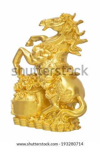 Golden Horse Statue Stepping on money Isolated with clipping path - stock photo