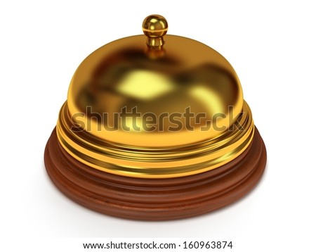 Golden hotel reception bell with metal body on wooden base. 3d render. Vacation, travel, service concept. - stock photo
