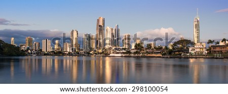 Golden Hour of the Heart of Surfers Paradise During a Stunning Sunset, Gold Coast, Queensland, Australia - stock photo