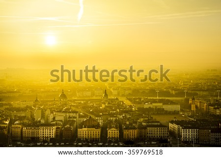 Golden hour over the city of Lyon, France - stock photo