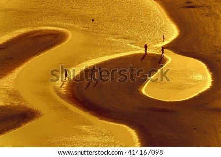 Golden hour, people on the beach - stock photo