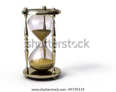 Golden hourglass - stock photo