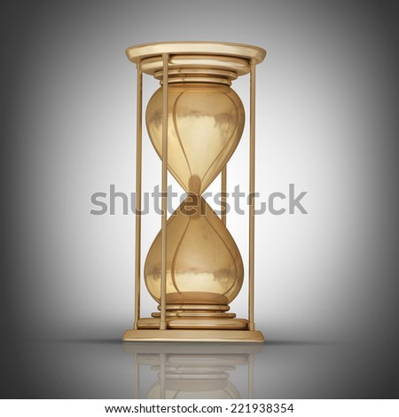golden hourglass sand clock. High resolution 3D collection of gold objects.  - stock photo