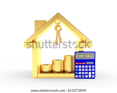 Golden house icon, keys, coins and calculator with the word FOR SALE on the display isolated on white background. 3D illustration
