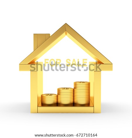 Golden house icon with coins and word FOR SALE isolated on white background. 3D illustration