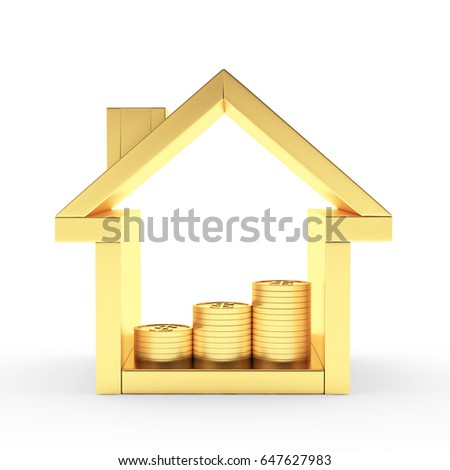 Golden house icon with the graph of coins inside isolated on white background. 3D illustration