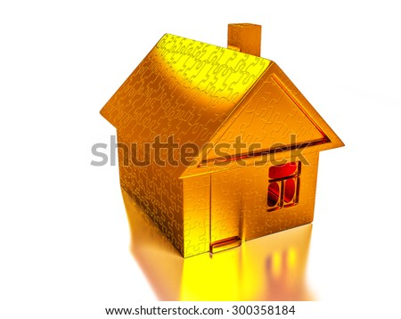 Golden house of puzzles - stock photo