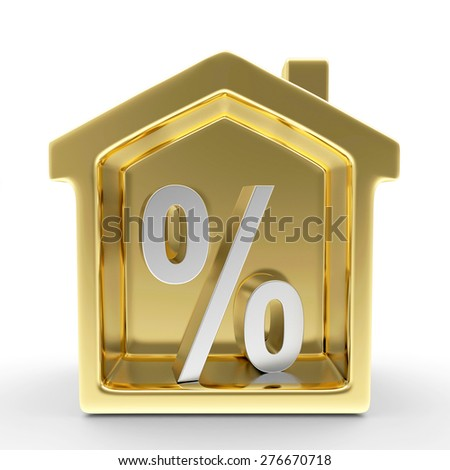 Golden house with a percent sign inside isolated on white background - stock photo