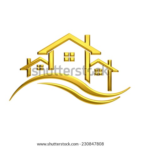Golden houses real estate image.  - stock photo