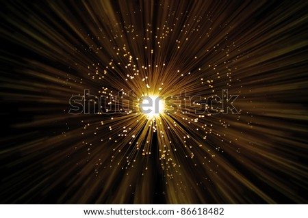 Golden illuminated fiber optic strands emitting a golden blur light effect from centre of image with dark background.