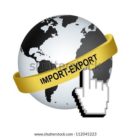 Golden Import-Export Band Around The World With Hand Cursor Isolated on White Background For Marketing Concept