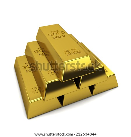 Golden ingots. 3d illustration isolated on white background  - stock photo