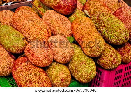 Golden Jack fruit for sale at the street market, Thailand - stock photo