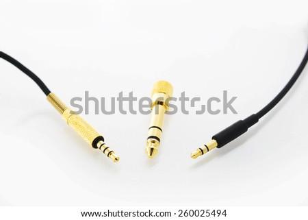 Golden jack plug isolated on a white background - stock photo