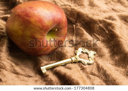 Golden key  and red apple on brown background - stock photo